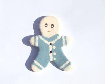 Large handmade button snowman for knitting, jewelry, DIY - blue and white ceramic