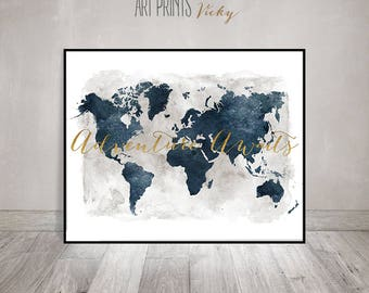 World map poster etsy adventure awaits world map poster watercolor print travel map wall art gumiabroncs Gallery