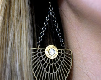 Custom Bullet Earrings, Bohemian, Boho Bonze Earrings, Antique Brass Earrings, Angel Wing, 9mm, 380, 45 Auto, 38 Special, 357 Mag, 308
