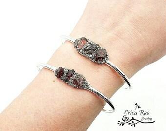 Raw garnet stone and crushed pyrite bangle bracelet, silver bangle,  rough garnet gemstones, raw jewelry, boho jewelry,  birthstone