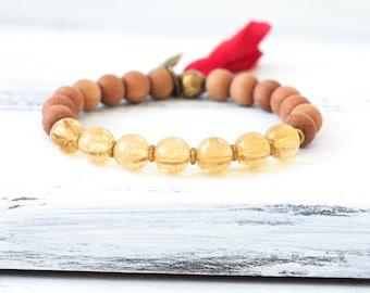 Sandalwood Mala Beads, Citrine Mala Bracelet, Citrine Bracelet, Tassel Bracelet, Spiritual Jewelry, Yoga Jewelry, Boho Jewelry, Healing