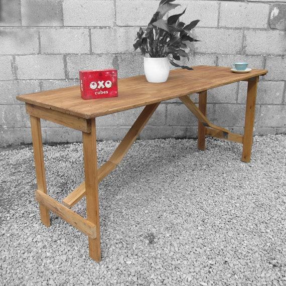 Vintage Folding Trestle Table Rustic Pine Old Garden Event Wedding Table