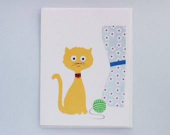 Hello Kitty with ball of yarn - print card by Emily Lin