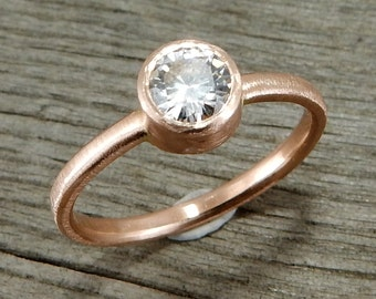 Delicate Moissanite and Recycled 14k Rose Gold Engagement, Wedding, or Everyday Ring, Affordable, Ethical, Eco-Friendly, Made to Order