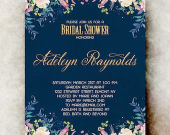 Watercolor bridal shower Invitation printable - navy blue bridal shower invitation, floral bridal shower invitation, bridal shower invites