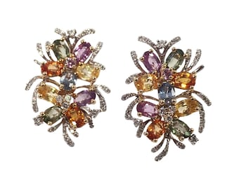 14K White Gold Multi Color Sapphire and Diamond Earrings