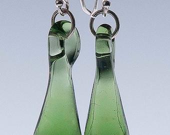 Long Green Glass Droplet Earrings Hand Sculpted by Jenn Goodale