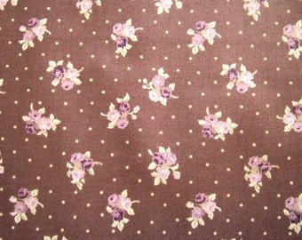 Fat Quarter - Pink Roses on Brown Background