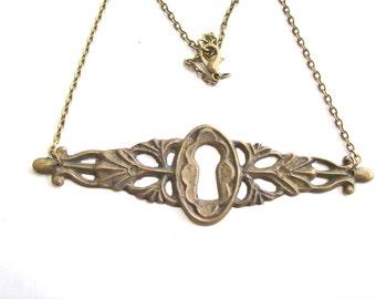 Antique Key Hole Necklace Pendant.Bronze . Door of happiness. Door of love- Nozzle for the lock. Art.8148. Gift, Anniversary, Birthday.