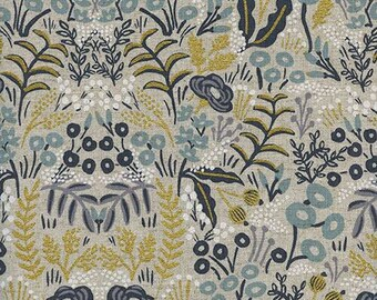 Tapestry Natural Linen Canvas - Canvas Upholstery Fabric - Cotton + Steel Menagerie - Rifle Paper Co - 8040-22 - Winter Home Decor Fabric