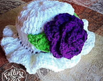 Crochet Baby Rose Ruffle Sun Hat baby newborn Girls - made to order