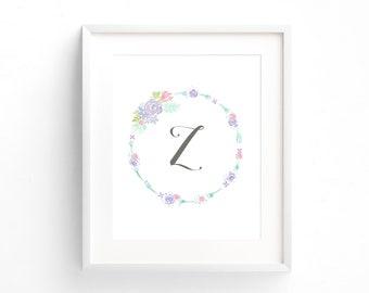 Floral Baby Girl Nursery Decor, Pink Flower Wall Art Print, Purple Floral Art Prints, Letter Z Initial Wall Art, Pink Rose Wall Art Prints