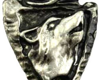 Wolf Amulet Pendant Cast Genuine Pewter for Guidance and Wisdom