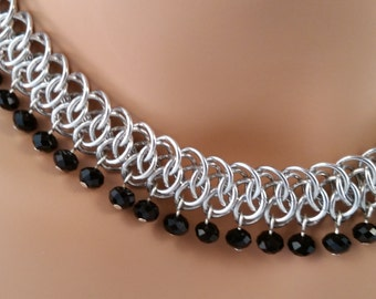Arkham Chainmaille Necklace with Black Crystals, Chainmaille necklace, Chainmail necklace, Chain mail necklace, chain maille necklace