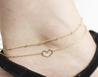 Anklets for woman - SET OF 2 ANKLETS - Layered Anklet Double Gold ankle bracelet Satellite Chain Anklet Dainty silver Heart Anklet for women