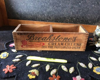 Vintage 1940's Breakstone Cream Cheese dovetailed box