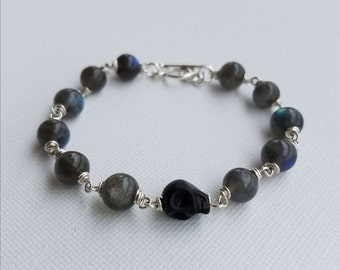 Labradorite and Silver Bracelet with Skull Accent Bead