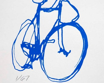Bicycle Art Print - BSA Track Bike  Blue on White