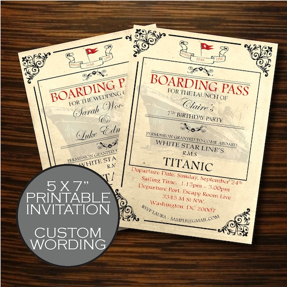 Titanic themed wedding titanic wedding invitation titanic titanic themed wedding titanic wedding invitation titanic boarding pass vintage nautical wedding invite vintage high tea invite pronofoot35fo Images