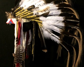 Lakota Style War Bonnet, Native American Head Dress With Stand. Rugged, Sunning!