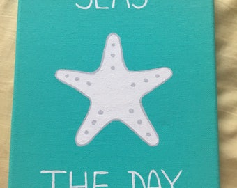 Seas the day starfish canvas