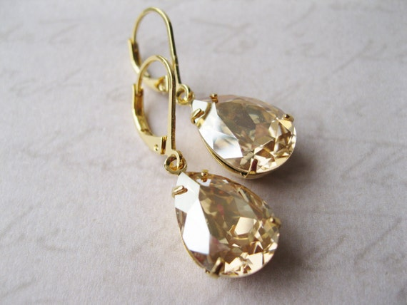 Gold Champagne Rhinestone Drop Earrings Bridesmaid Earrings Vintage Style Old Hollywood Champagne Wedding Light Topaz Dangles Bridal Jewelry