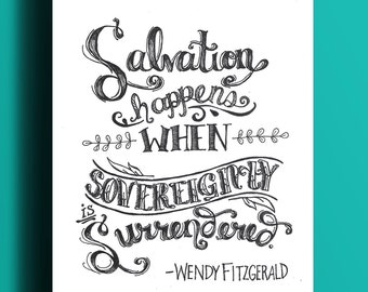 Salvation Happens Quote | Hand-Lettered Print | 8x10