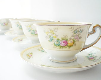 2 Hand Painted Floral China Cup & Saucer Sets Hand Painted Japan Porcelain Teacups