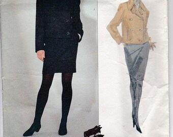 ON SALE 1990s Vogue Ralph Lauren Designer Jacket, Skirt Pattern No 2763 Size 6-10 30 1/2-32 1/2 inch bust, Uncut, Factory Folded