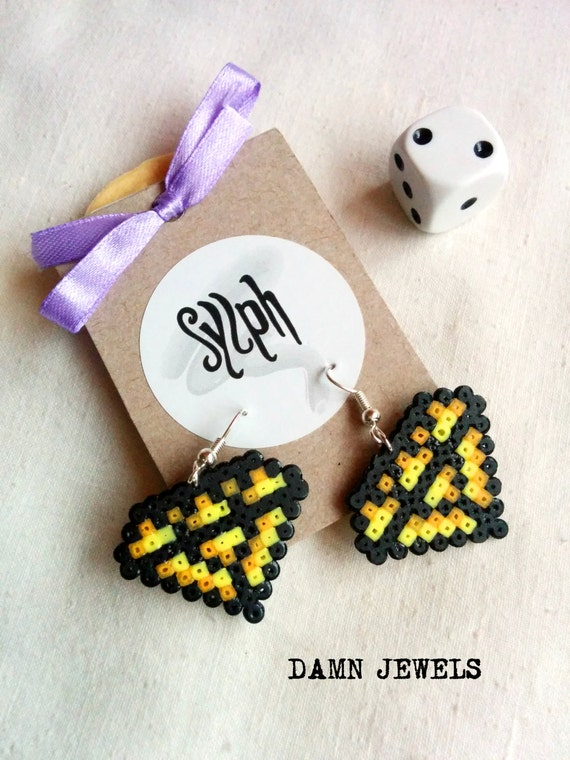 Yellow gamer girl diamond shaped Damn Jewels earrings in pixelated 8bit retro style