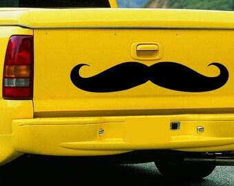 "Large Stache Moustache Vinyl Wall Sticker Decal 6""h x 22""w"