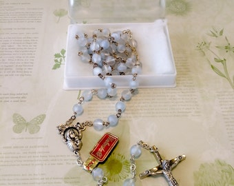 Vintage Frosted Glass Rosary/vintage rosary/Italy rosary/rosary beads/prayer beads/glass bead rosary/cross/cross necklace/crucifix/catholic