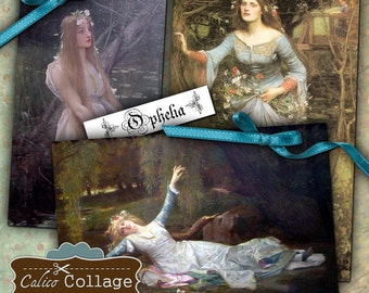 Ophelia Digital Collage Sheet Decoupage Paper Large Images for Paper Crafts, Decoupage, Altered Art, Mixed Media, Mini Cards, Gift Tags