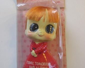 vintage 1968 Enesco ADORABLES BiG EyEs Statuette Doll new in original packaging Today Tomorrow Always red dress Style of Margaret Keane
