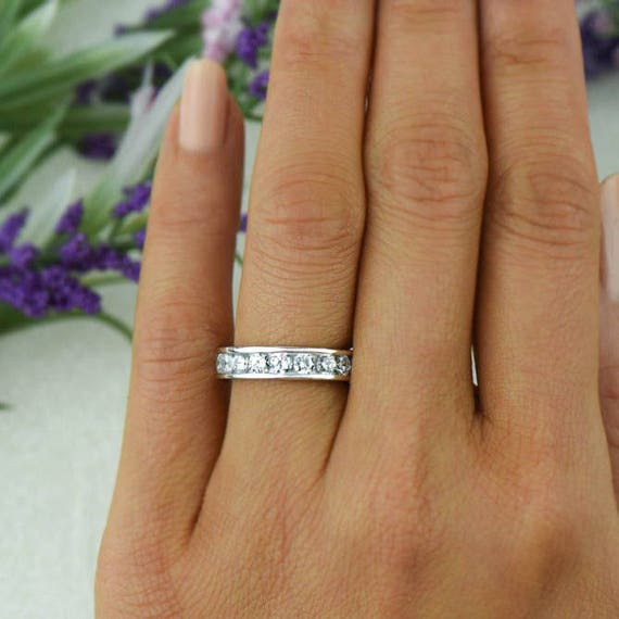eternity platinum band pl channel milgrain bands set diamond round