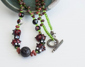 Beaded and bug loaded necklace  LADYBUG PARTY // a necklace / one of a kind  Red and green
