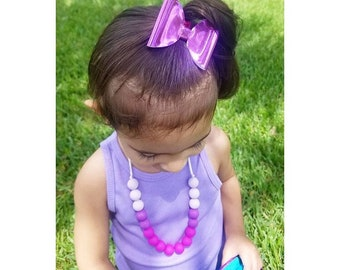 Ultra Violet Mirrored Bow- headband, glitter bow, metallic bow, Valentine's Day bow , ultra violet  headband, purple headband, purple bow,