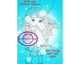 Digital Stamp, Digi Stamp, digistamp, Conie Fong, Coloring Page, girl, flowers, birthday, Mother's Day, Valentine, balloon, love, sympathy