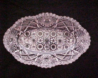 Antique Westmoreland No. 666 Pressed Glass Oval Serving Bowl Marked Deep Cut, EAPG Early American Pattern Glass Nappy Circa 1917