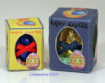 12th scale dollhouse handmade miniature 12th scale boxed Easter eggs