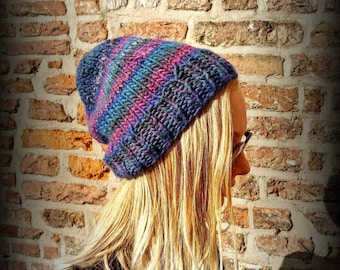 Beautiful handmade knitted hat | Slouchy hat for women | Stoner hat | Warm winter accessories | Blue purple yarn | Women accessories