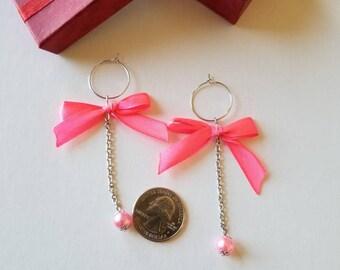 Korean style earrings, Ribbon earrings, Bow earrings, Japanese style earrings, Neon pink earrings.