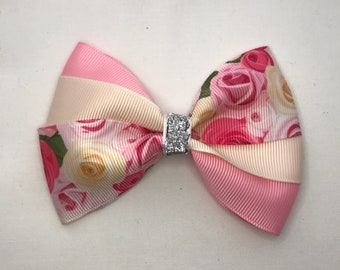 Roses Hair Bow,  Cream Hair Bow, Pink Hair Bow, Toddler Hair Bow, Pinwheel Hair Bow