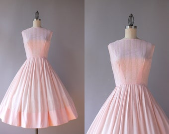 1950s Dress / Vintage 50s Sheer Pale Pink Day Dress / 50s L'Aiglon Lace and Eyelets Full Skirt Dress XS extra small