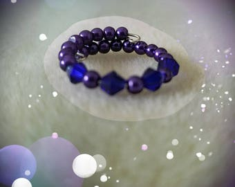 Purple Pearl & Crystal Memory Wire Ring