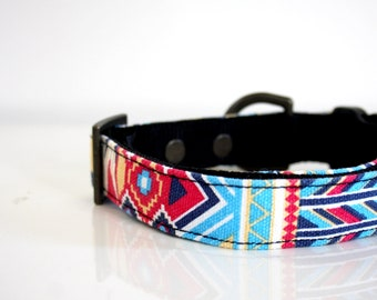 BOHO Blue Dog Collar - turquoise blue, red - brass