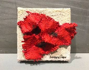 Poppies, mini canvas hand made by Ioannidou