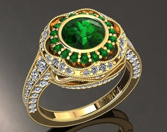 Emerald Engagement Ring 1.50 Carat Emerald And Diamond Ring In 14k or 18k Yellow Gold Style Number W33GY