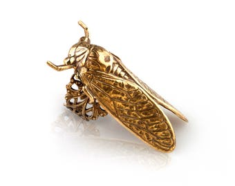 Cicada ring vintage rings filigree ring patina brass ring victorian insect ring