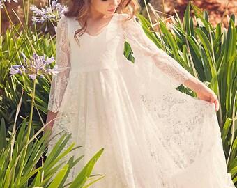 First Communion Dress, Flower Girl Off White Lace Dress, Boho-chic Girls Dress, Lace dress girls, Boho flower girl dress, Bohemian Wedding